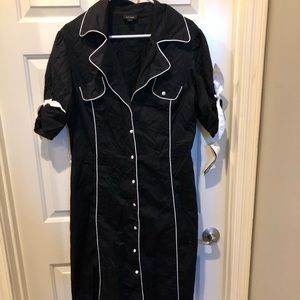 Black dress with white piping